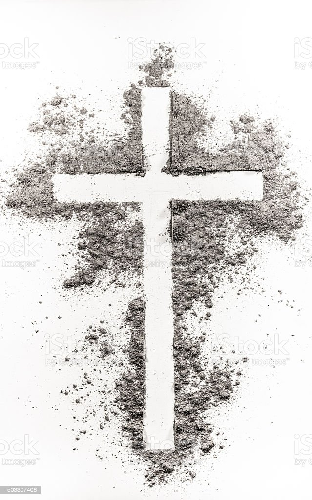 Christian cross made of ash stock photo