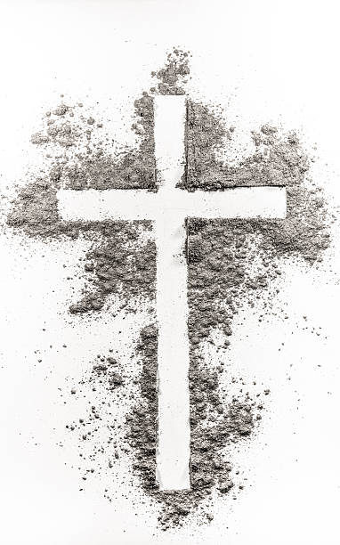 christian cross made of ash - ash cross stock photos and pictures