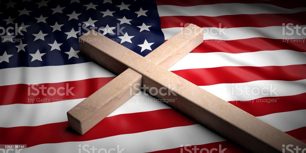 Christian Cross On American Flag Background 3d