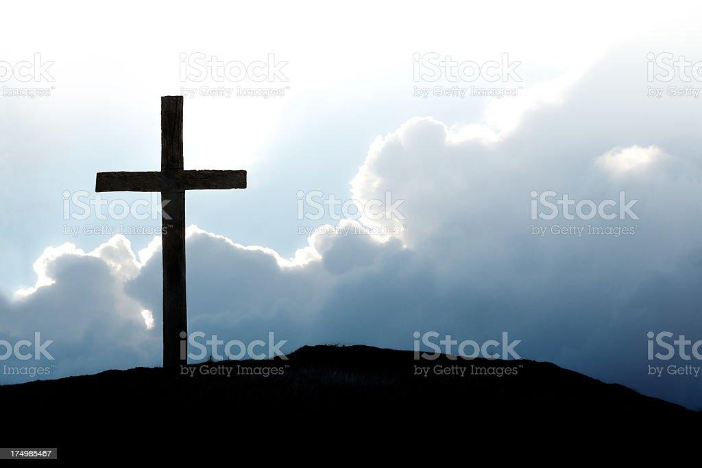 Christian Cross on Hilltop stock photo