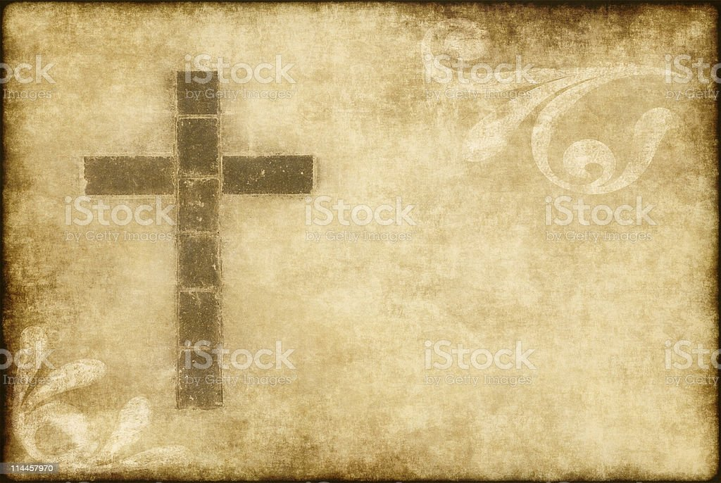 christian cross on parchment royalty-free stock photo