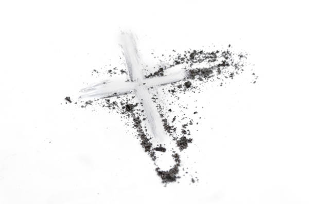 christian cross or crucifix drawing in ash, dust or sand as symbol of religion, sacrifice, redemtion, jesus christ, ash wednesday, ash wednesday concept - ash cross stock photos and pictures