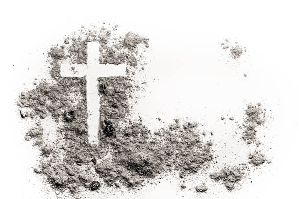christian cross or crucifix drawing in ash, dust or sand - ash cross stock photos and pictures