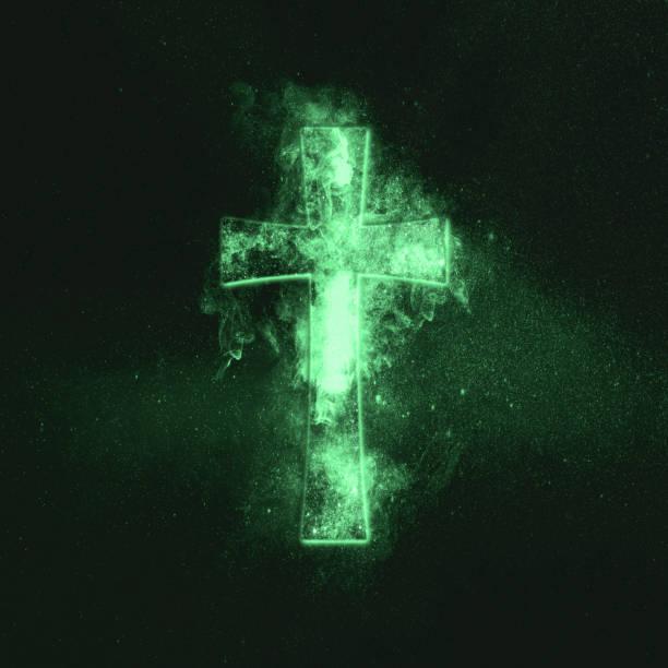 christliches kreuz-symbol. grünes symbol - sterntaufe stock-fotos und bilder