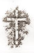 istock Christian cross symbol made of ash 507219490