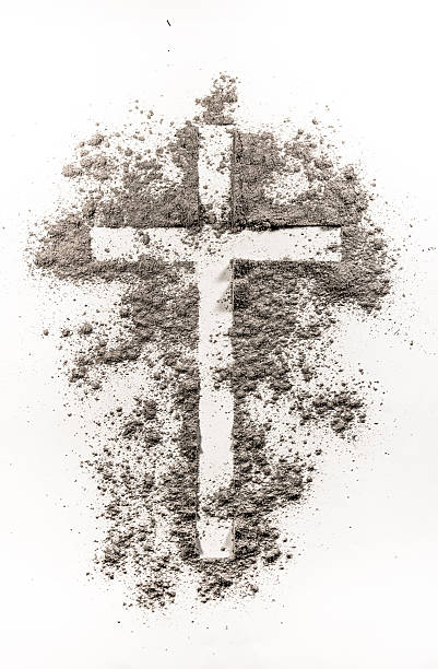 christian cross symbol made of ash - ash cross stock photos and pictures