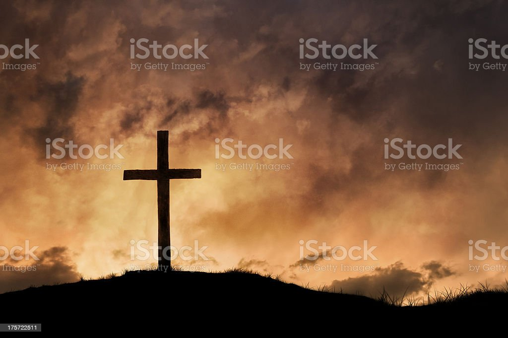 Christian Cross with Beautiful Sunset stock photo
