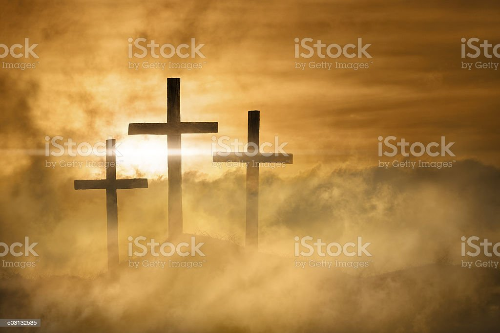 Christian Crosses Bathed in Heavenly Light stock photo
