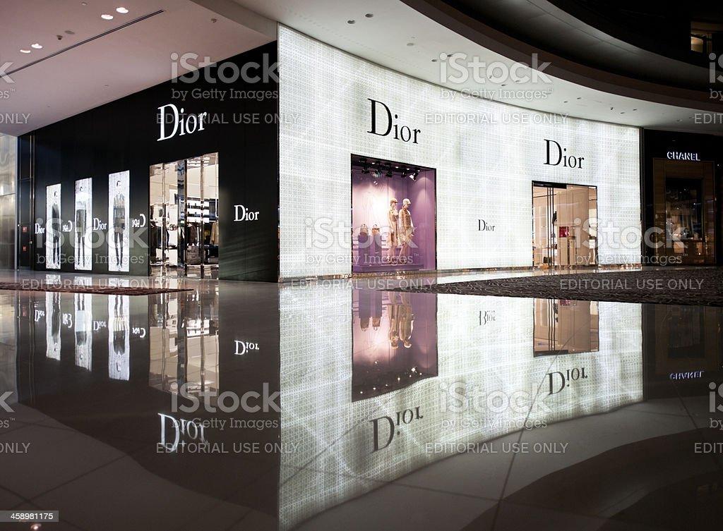 Christian Dior window display at Mall Of The Emirates, Dubai royalty-free stock photo