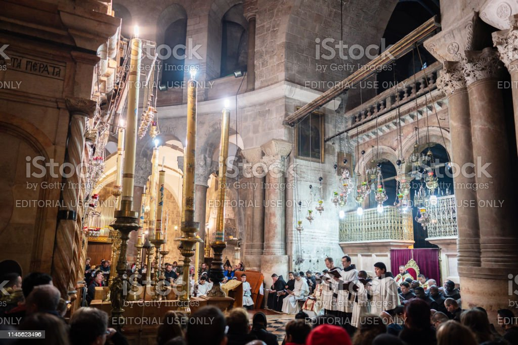 Holy Saturday Christian Easter Mass inside the famous Church of the...