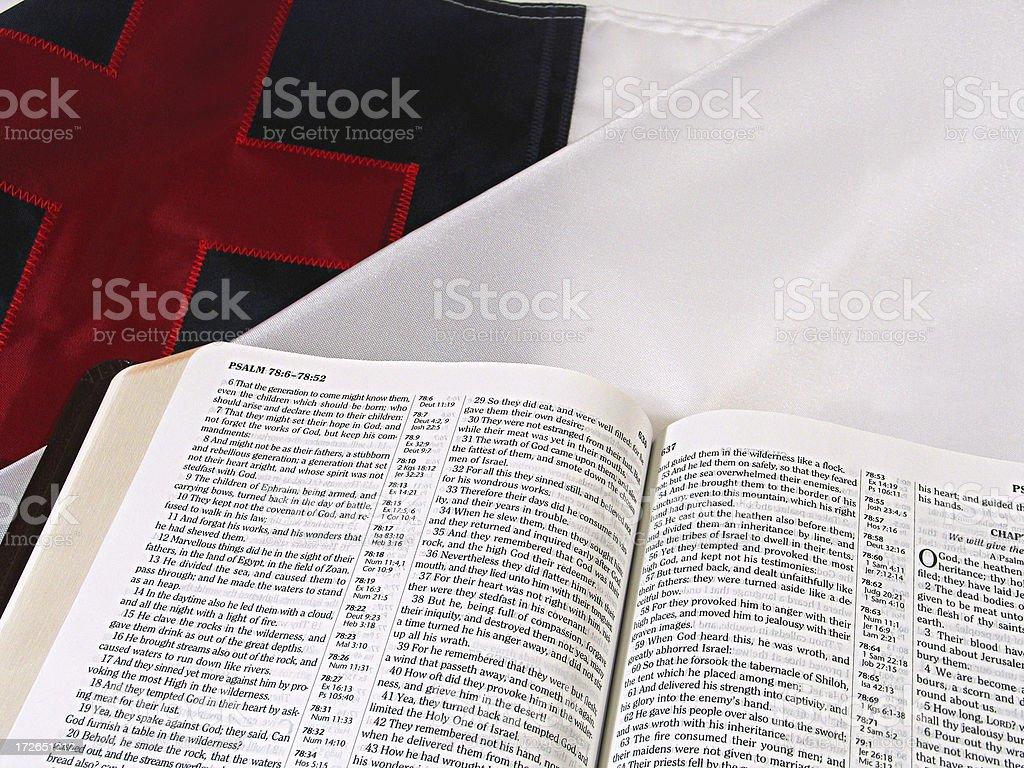 Christian Flag & Bible (KJV) royalty-free stock photo