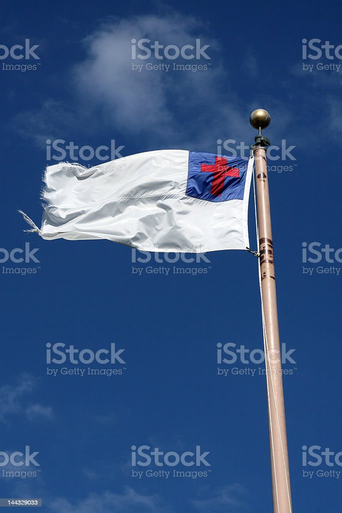 Christian Flag stock photo