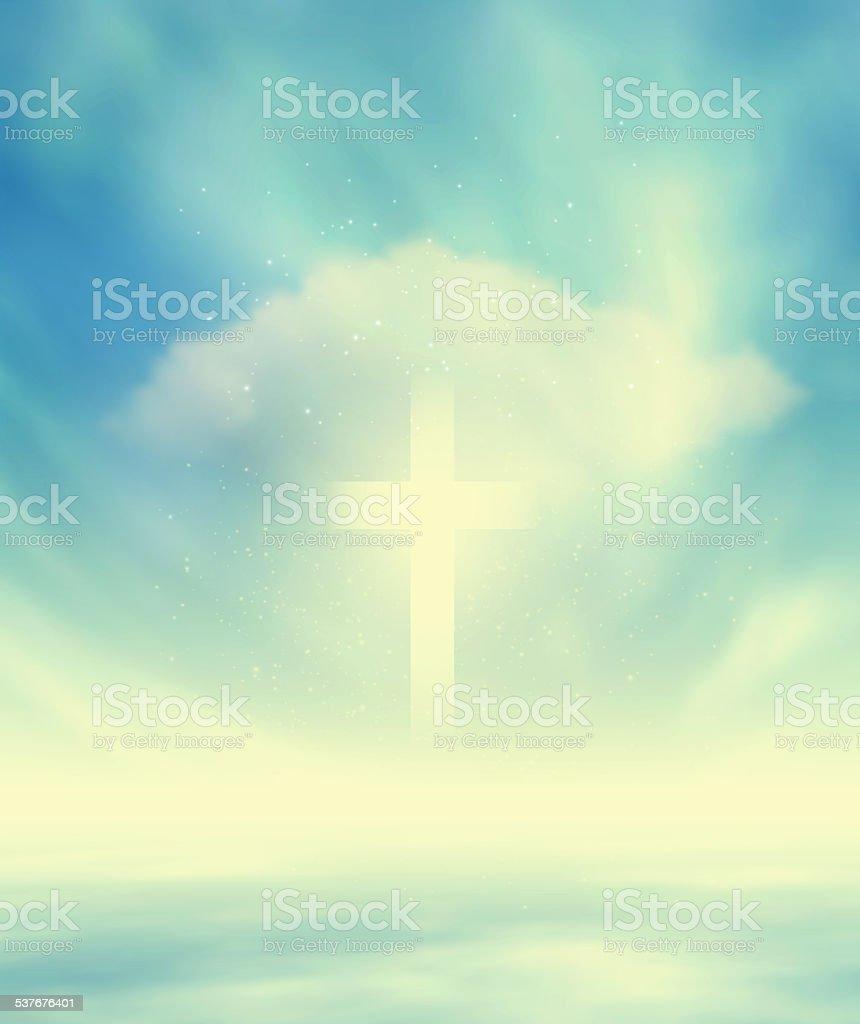 Christian Glowing Cross stock photo