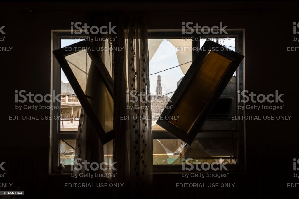 Christian home damaged in Qaraqosh, Iraq stock photo