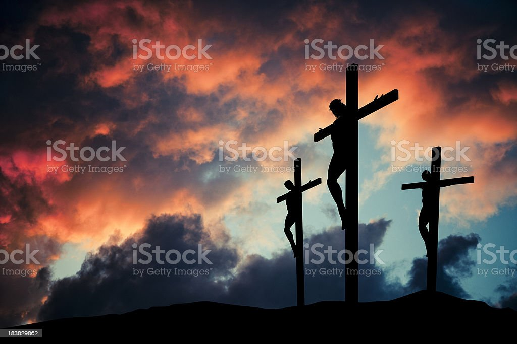 Christian Jesus Christ son of god crusified on wooden cross stock photo