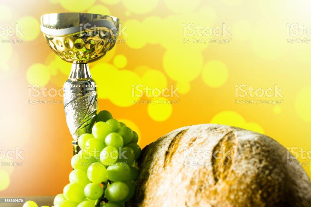 Christian or Catholics symbols on colorful background. Religion...