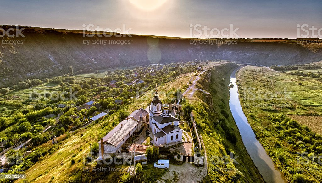 Christian Orthodox church in Old Orhei, Moldova. Aerial view fro stock photo