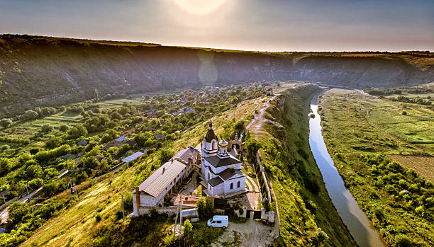 christian orthodox church in old orhei, moldova. aerial view fro - moldova stock pictures, royalty-free photos & images