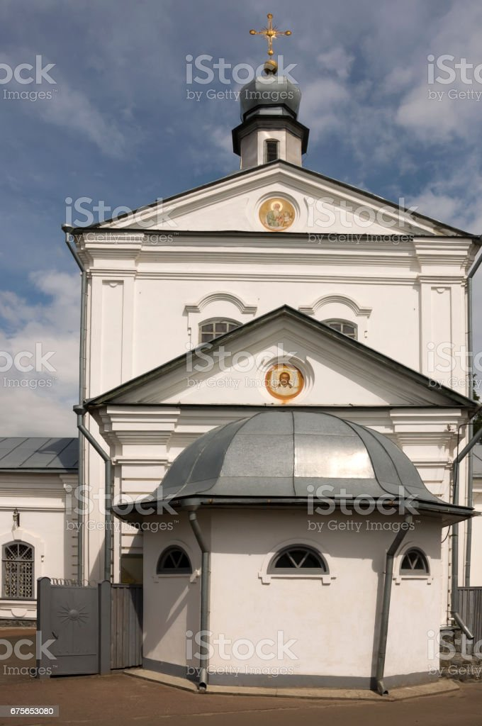 Christian orthodox white church with silver domes and gold crosses royalty-free stock photo