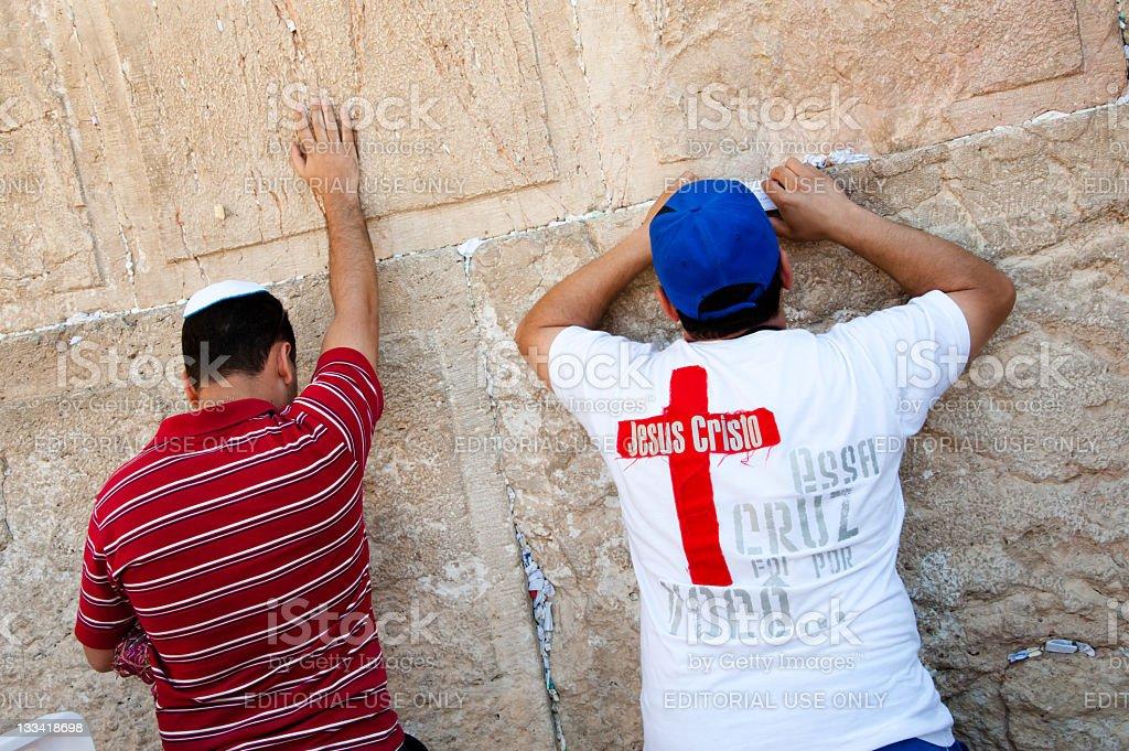 Christian Praying at Western Wall royalty-free stock photo