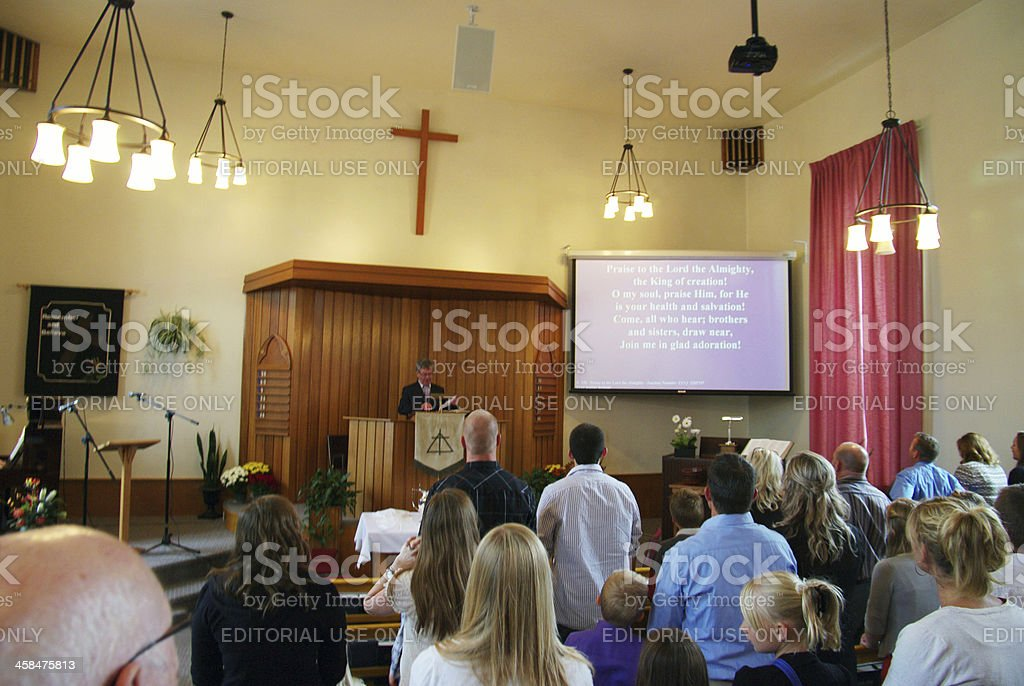 Christian Reformed Church Sunday service stock photo