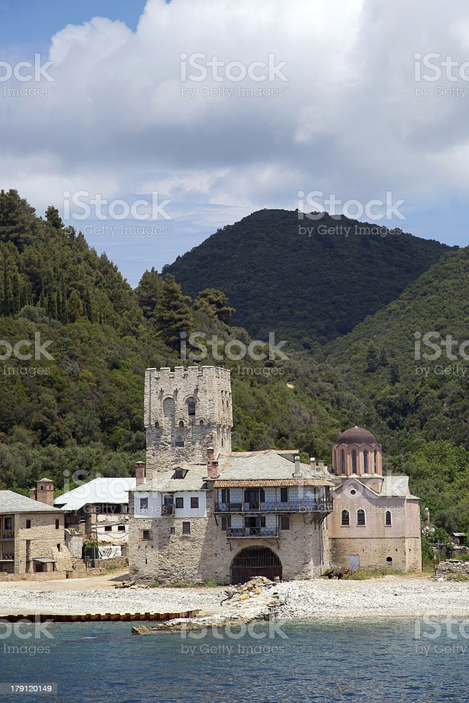 Christian shrine by the sea on Mount Athos royalty-free stock photo