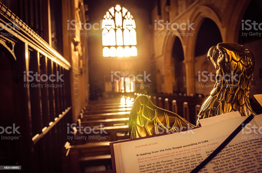 Christian symbolism - Eagle lectern stock photo