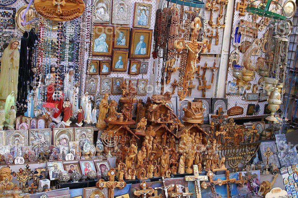Christian symbols in the Jerusalem east market royalty-free stock photo