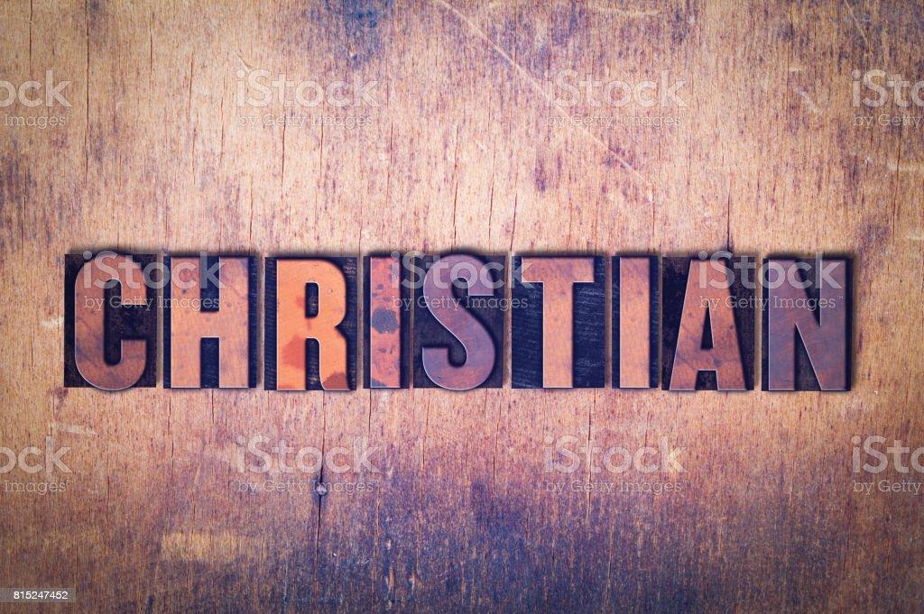 Christian Theme Letterpress Word on Wood Background stock photo