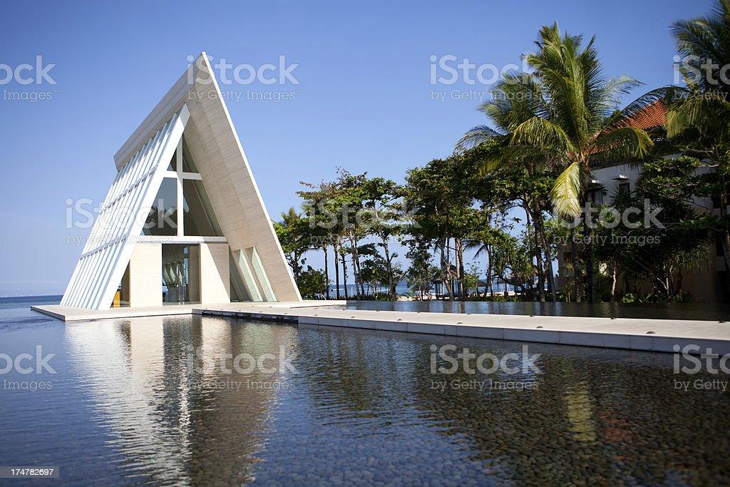 Christian wedding chapel in Bali stock photo