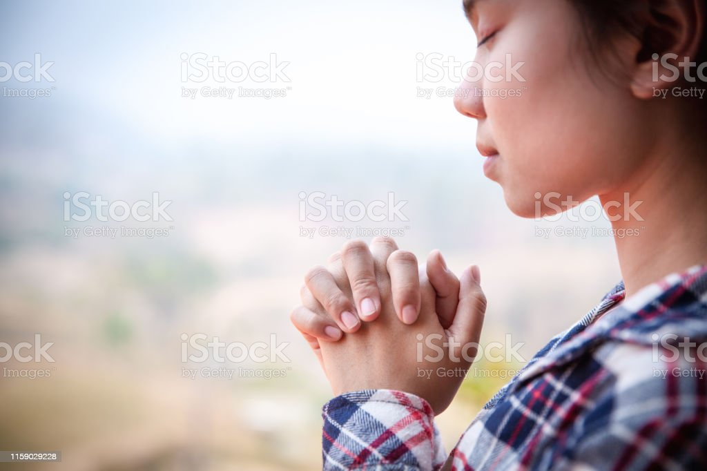 Christian woman hands praying to god with morning, Woman Pray for god...