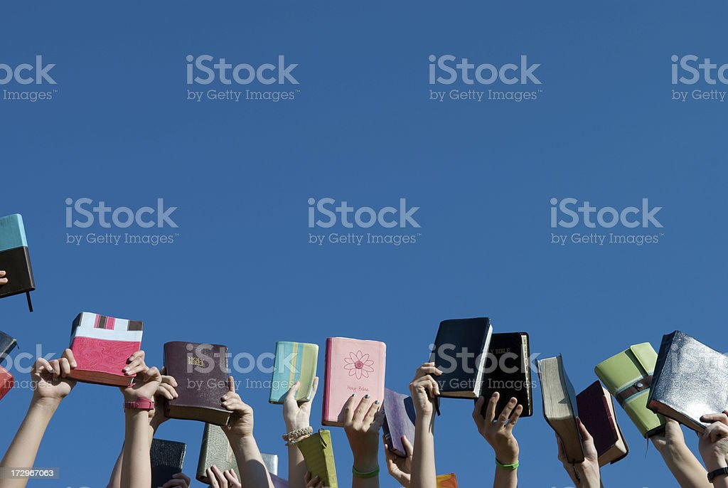 Christian Youth Group - Bibles Up stock photo