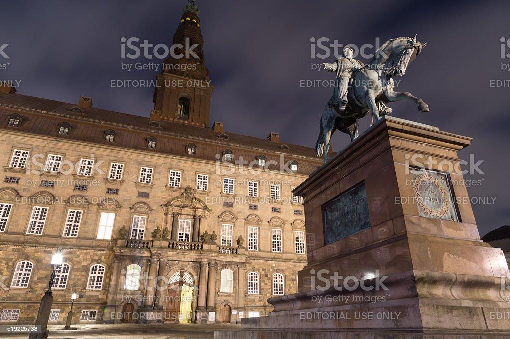 Christiansborg Palace in Copenhagen by night stock photo