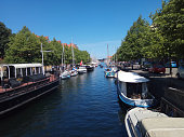 Touring tourist attractions in the capital of Denmark, canals around the old city