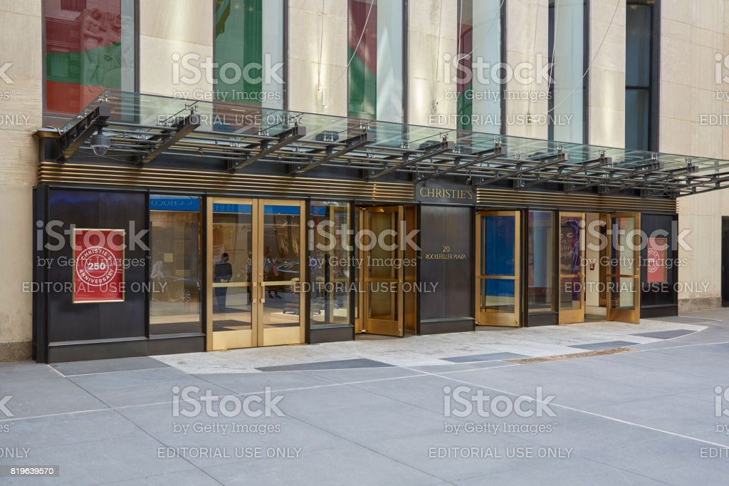 Christie's American branch entrance in Rockefeller Center in New York stock photo