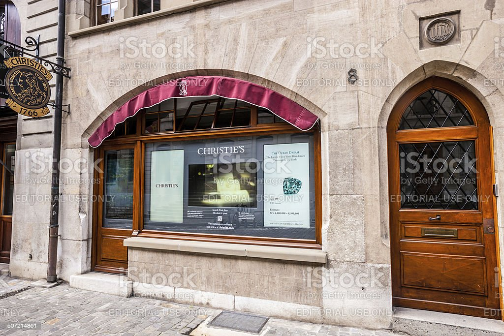 Christie's Geneva Office in historic city center, Switzerland stock photo
