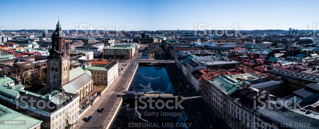 Christina Church and Big Harbour Canal.  Gothenburg Sweden stock photo