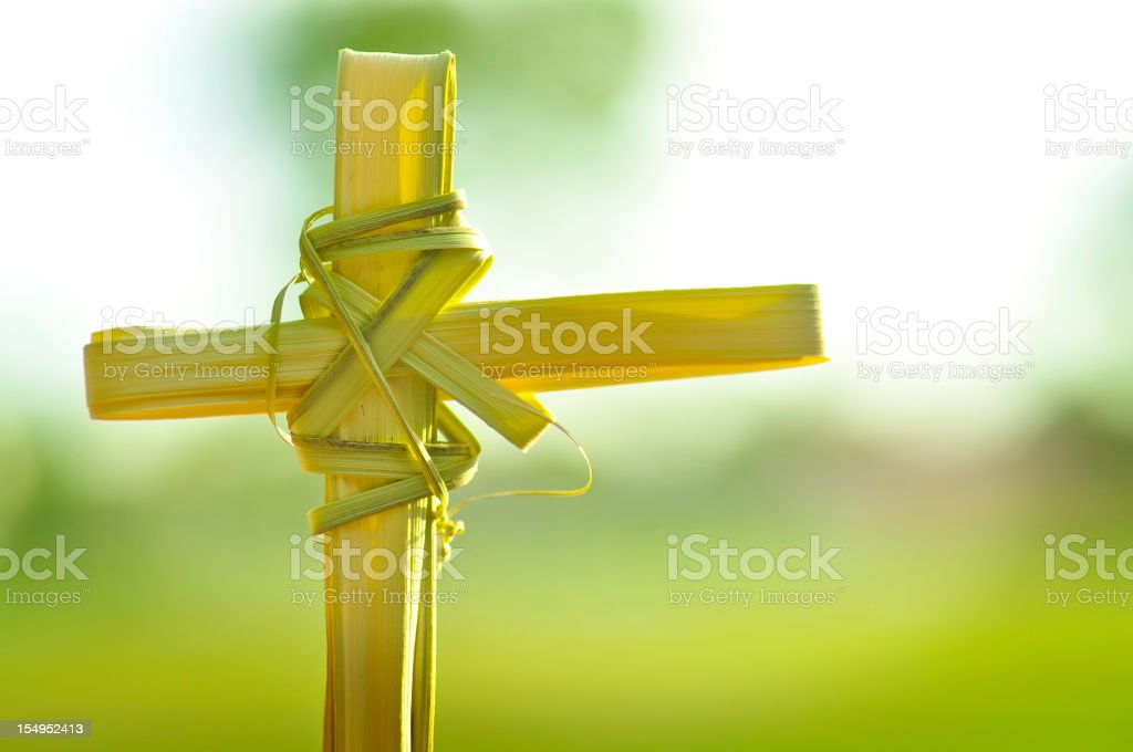 Christina Cross made out of palm fronds. stock photo