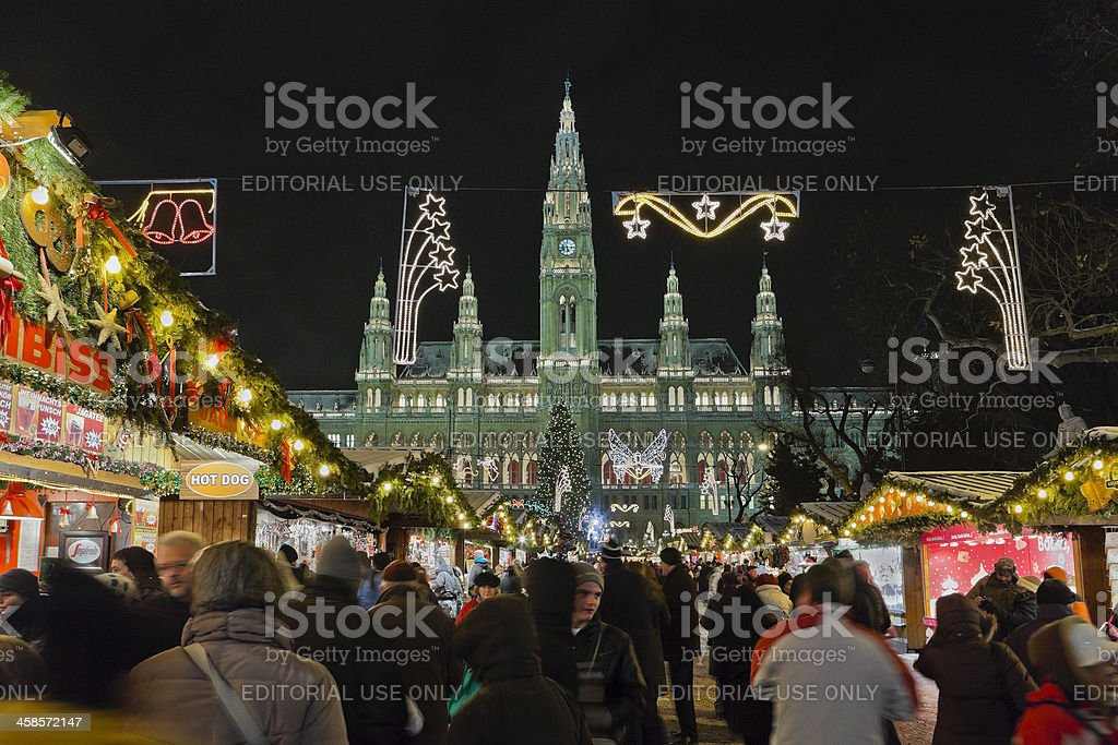 Christkindlmarkt at the Vienna City Hall royalty-free stock photo