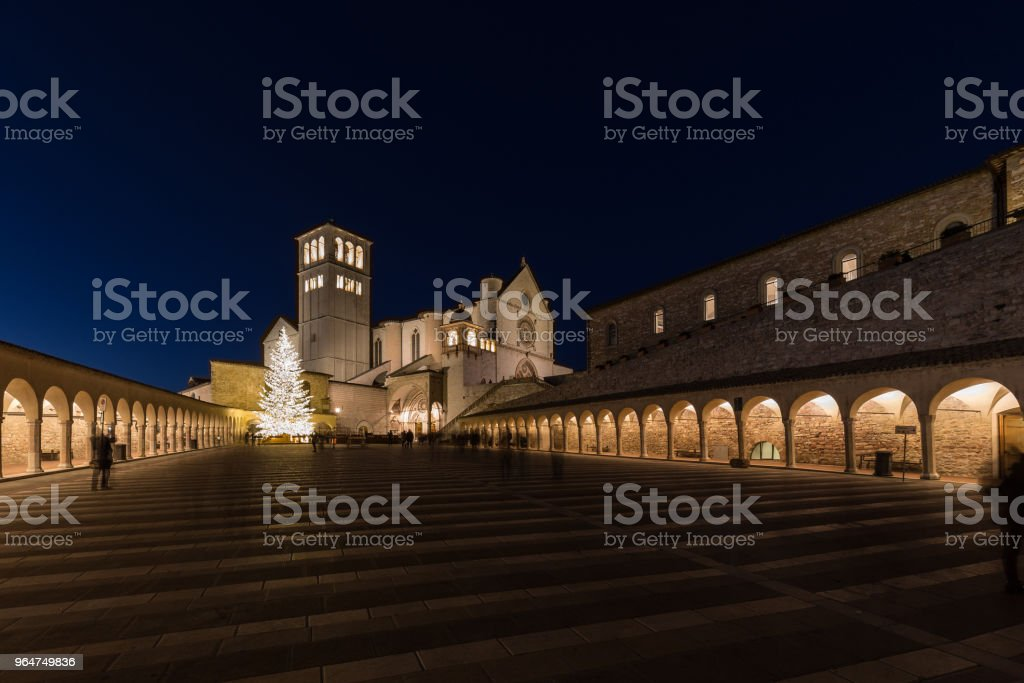 Christmas 2017 in Assisi (Umbria), with a view of San Francesco royalty-free stock photo