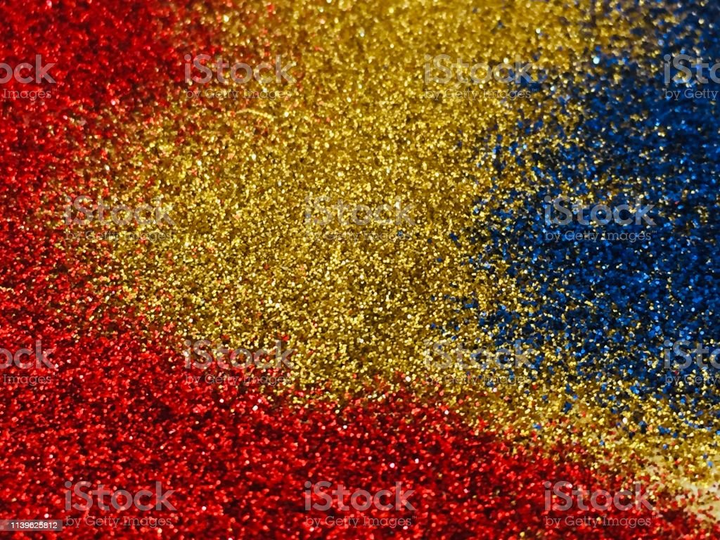 Christmas Abstract Background Gold Blue And Red Glitter