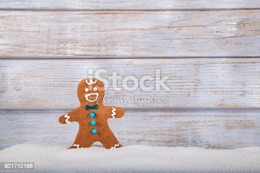 Christmas abstract background with gingerbread man. Used gingerbread cookies home-handedly made it from me. They are unique pieces and can not be found anywhere.