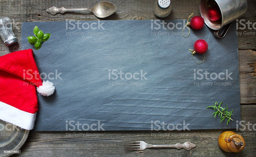 Christmas abstract menu culinary background stock photo