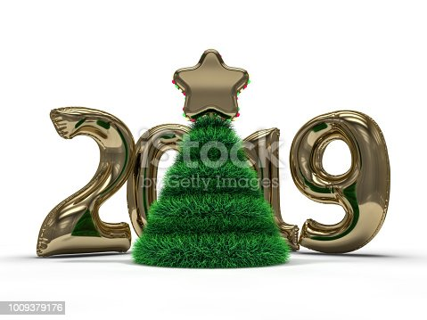 istock Christmas abstract tree. 3D rendering 1009379176