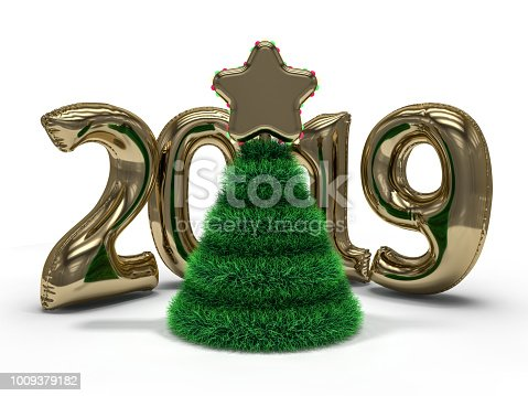 istock Christmas abstract tree. 3D rendering 1009379182
