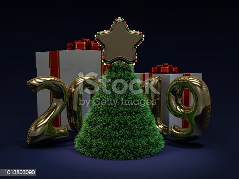 1043435102 istock photo Christmas abstract tree. 3D rendering 1013803090