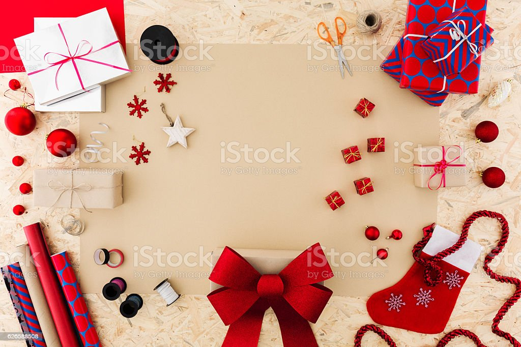 Christmas accessories on table stock photo