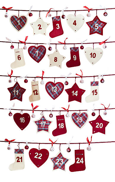 weihnachts-adventskalender - adventskalender stock-fotos und bilder