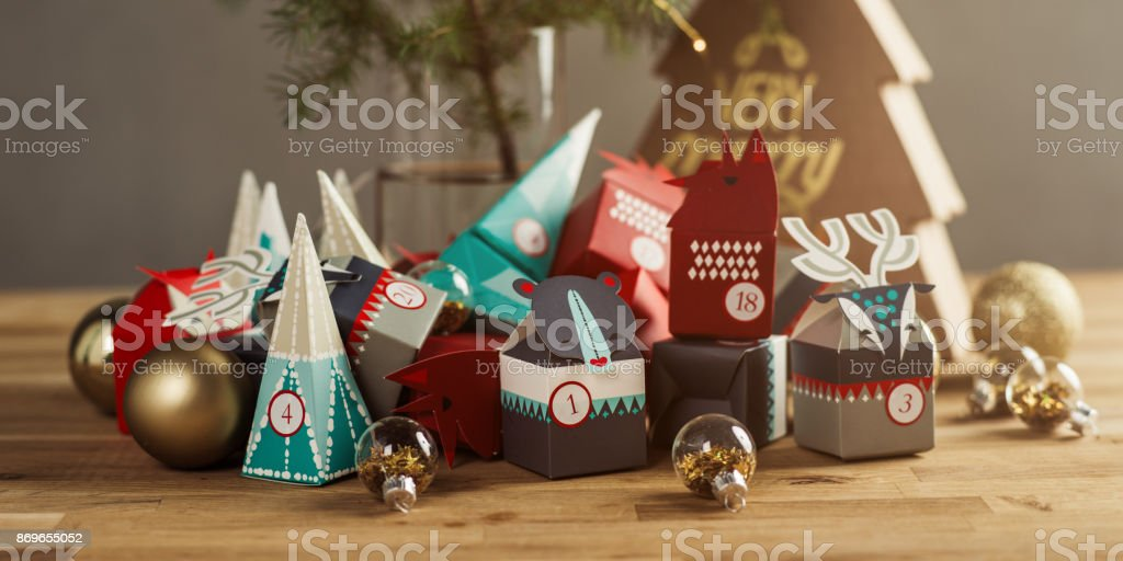 Christmas Advent calendar still life stock photo