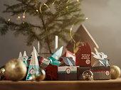 クリスマス アドベント カレンダーのある静物